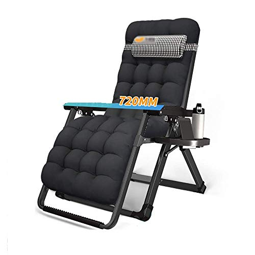 DSHUJC sun lounger Portable Folding Chair With Headrest, Balcony Single Lounge Chair, Office Lunch Bed, Outdoor Camping Beach Chair, Detachable Cotton Pad, Load 200kg