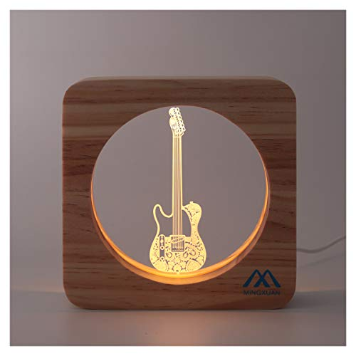 Product Image of the Creative Cute 3D Night Light Electric Guitar Wooded Frame USB Power Warm White...