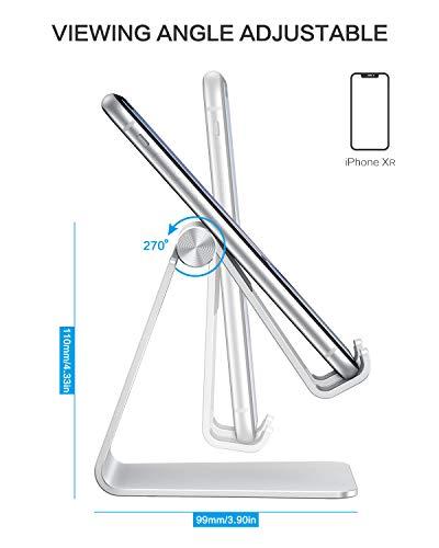OMOTON Handy Ständer Verstellbar, Phone Stand kompatibel mit iPhone 12 Mini/iPhone 12 Pro Max/11 Pro/XR, Multi-Winkel Handyhalterung für Huawei, Samsung, Xiaomi, OnePlus andere Smartphone, Silber