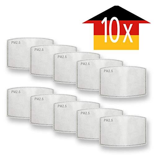 Luftty 10x Anti-Staub Aktivkohlen-Filter PM2.5, Anti-Pollen Gesichts-Masken Ersatzfilter für Handwerker, Radfahrer, Allergiker gegen Feinstaub, Pollen
