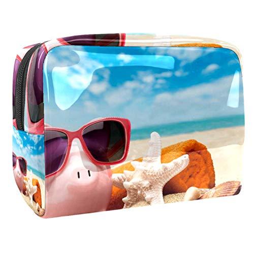 Neceser de Maquillaje Estuche Escolar para Cosméticos Bolsa de Aseo Grande Cerdo Gafas de Sol Estrella de mar Playa