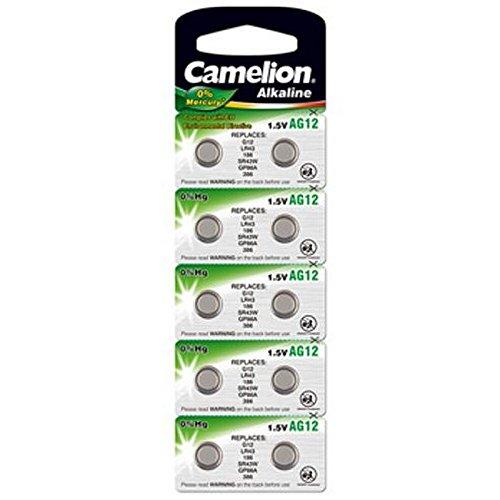 10 Stk. (1 Blister) Camelion 0%HG Alkaline 1,5V Knopfzellen Uhren-Batterien AG12, 186, 188, 386, 1142, SR43, LR43