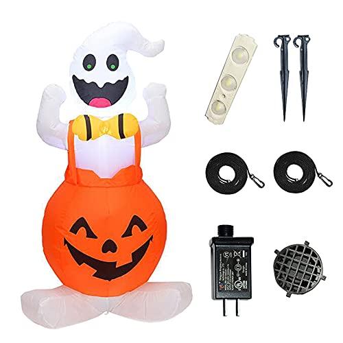 RIABXZ Fantasma inflable de Halloween con calabaza, al aire libre, inflable, decoración de Halloween para fiestas de Halloween en interiores, exteriores, patio, jardín, decoración de césped (4 pies)
