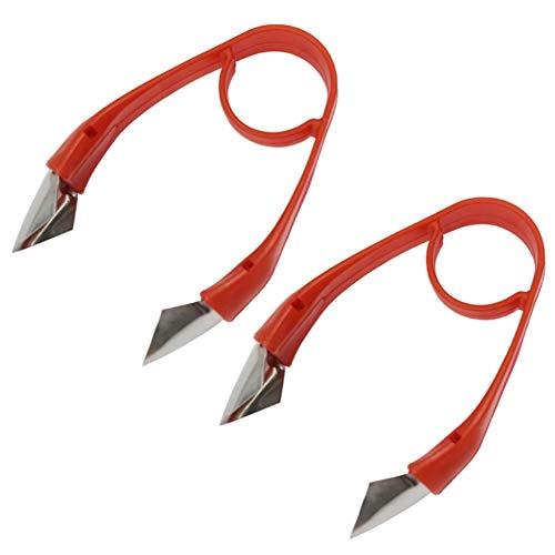 Heritan Removedor de tallos de fresa de tomate, herramienta de eliminación de hojas de fresa, cuchillos de frutas para fiestas de cocina (rojo, 2 piezas)