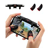 Mobile Trigger,Mobile Game Controllers rinsfox, Foldable Plug and Play Gaming Trigger for iOS and Android Phone(PUBG/Fortnite/Rules) (red)