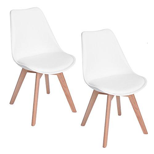 EGGREE 2er Set Esszimmerstühle mit Massivholz Buche Bein, Retro Design Gepolsterter Stuhl Küchenstuhl Holz, Weiß