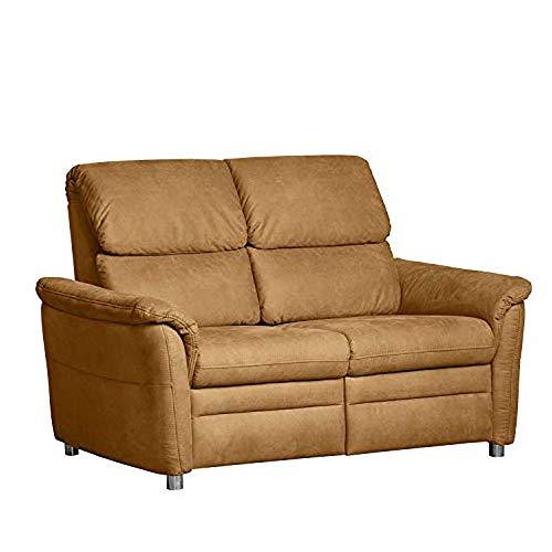 Cavadore 2-Sitzer Chalsay / mit Federkern / moderne kleine Couch / Größe: 145 x 94 x 92 cm (BxHxT) / Farbe: Braun (chocco)