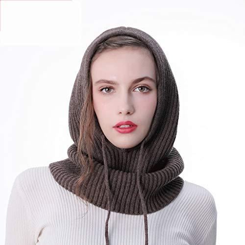 WXL Dicker Wollschal mit Kapuze Dual-Use einteiliges Kragen Herbst und Winter Männer und Frauen gestrickte Ärmel Lätzchen Hut V (Farbe : Kamel)