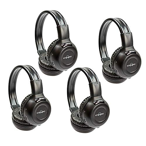 4-Pack Two Channel Folding Adjustable Universal Rear Entertainment Infrared Headphones with Aux Cords Wireless IR DVD Player Head Phones for in Car TV Video Audio with Superior Sound
