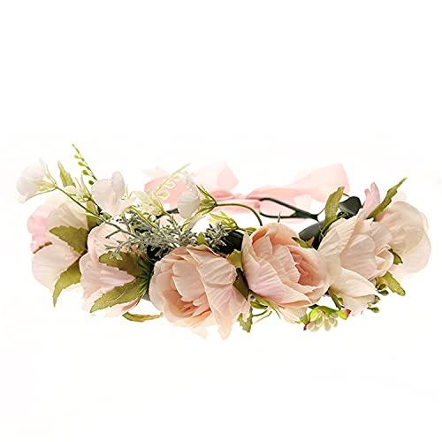 Corona di fiori per bambine vintage a forma di foglia floreale, corona per adulti, con nastro regolabile