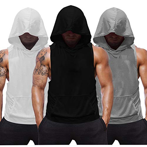 SZKANI 3 Packs Mens Sleeveless Hoodie Stringers Bodybuilding Tank Tops Workout Muscle Shirt Fitness Vest((#1) Black,White,Gray_3 pcs,X-Large)