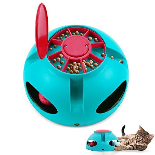 V-HANVER Interaktives Katzen Spielzeug, Uunregelmäßiges Automatisch Selbstdrehender, Draußen Katzenspielzeug, Undichter Lebensmittelspender, Haustierspielzeug, Intelligenzspielzeug für Katzen
