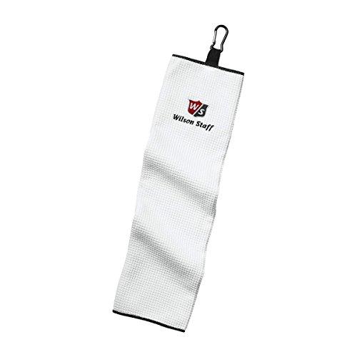 Wilson Staff, Toalla de golf Trifold, Anilla para colgar, Muy absorbente, Microfibra, 40,6 x 53,3 cm, Blanco, WGA3202WH