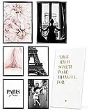 Heimlich Cuadros Decorativos - SIN Marcos -Decoración Colgante para Paredes de Sala, Dormitorios y Cocina - Arte Mural - 2 x A3 & 4 x A4-30x42 & 21x30   » Paris Fashion Flowers «