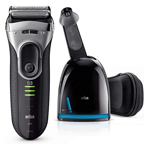 Braun Series 3 ProSkin 3090cc Rasoir Électrique Homme Barbe, Noir/Argent - Rasoir Électrique Rechargeable + Station Clean&Charge