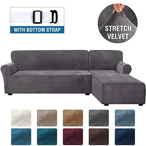 Rich Velvet Stretch 2 Pieces L-Shaped Sofa Covers Anti-Slip Sectional Sofa Slipcovers with Straps Bottom Luxury Thick Velvet Corner Sofa Cover(X-Large Size=Right Chaise with 3 Seater, Gray)