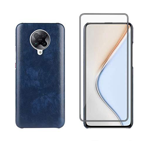 TANKLE Hülle Compatible für Xiaomi Poco F2 Pro Hülle Leder Premium PU Hülle Ultra Dünn Echtleder Cover Ledertasche (Color : Blue, Size : Poco F2 Pro)