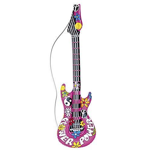 Widmann 23944 - Aufblasbare Gitarre Flower Power, 105 cm, Instrument, Band, Hippie