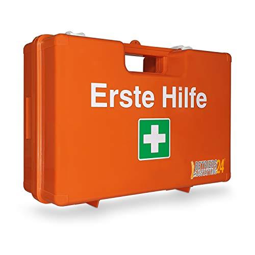 Betriebsausstattung 24® Erste-Hilfe-Koffer | Verbandskasten inkl. Inhalt & Wandhalterung | First AID Box | Kunststoff (DIN 13157, orange)