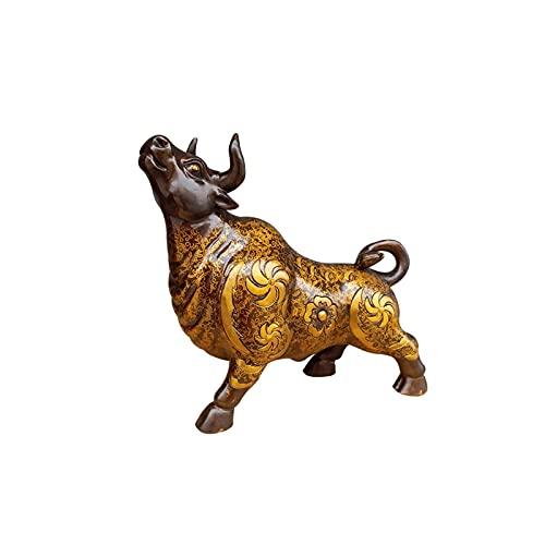 BKWJ Decoración de Escritorio Bronce Bull Figurine Decoración para el hogar Esculturas Decoración para el hogar Adornado Ornamento Escritorio Artesanías