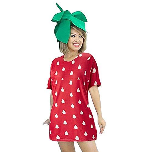 MRULIC Damen T-Shirt Kleider Festival Faschingsfest Party Obst Lässige Kurzarm Fruchtdruck Blusenkleider (Rot,Freie Größe)