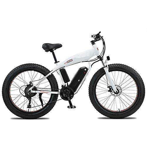 Bicicleta Eléctrica, 26' Bicicleta de montaña eléctrica, 4.0 E-bike de los adultos de la nieve del neumático gordo, Ebike todoterreno de aleación de magnesio de 27 velocidades,Blanco,48V750W 13AH
