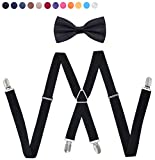 Mens Suspenders Bowtie Set,Type X Super Tight Anti-Skid Elastic Four Clips,Adjustable Bow Tie, Unisex for Teenager and Women (Black)
