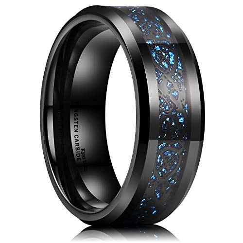 King Will Dragon Men's 8mm Light Blue Grit Black Celtic Dragon Tungsten Carbide Ring Comfort Fit Wedding Band 9