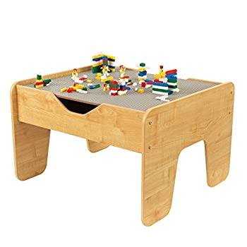 KidKraft Reversible Wooden Activity Table with Board with 195 Building Bricks – Gray & Natural Gift for Ages 3+ 28.5  x 23.5  x 3.25