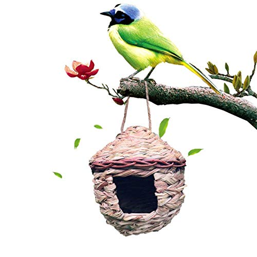 ffshop Birdhouse Feeder Made Strohvogelhaus Papagei Haus Outdoor Hängendest Nest Hand Gewebt Vogel Feeder Rest Nest Window Bird Feeder