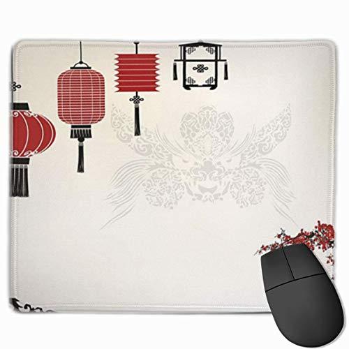 Muismat / Muismat / Muismat / Muismat, minimalistisch, Chinese lantaarn, Nieuwjaar, motief: Oosterse delen van de wereld, Wit / Zwart