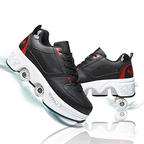 Fbestxie Patines De Ruedas Mujer Multifunción Zapatos con Ruedas 2 En 1 Deformación Patines De Ruedas Ajustables Polea Zapatos para Adulto Deportes Al Aire,Black Red,37