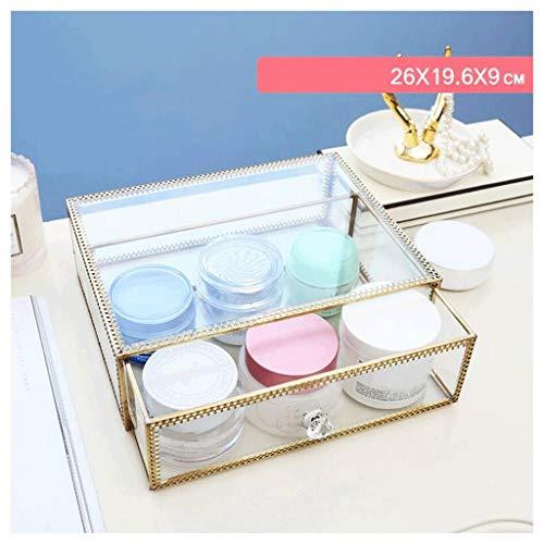 Étui de Maquillage Boîte de rangement multifonction avec couvercle antipoussière Bordure dorée Verre transparent Mode boîte cosmétique Non-acrylique Bureau commode Soins de la peau Produits Boîte Lips