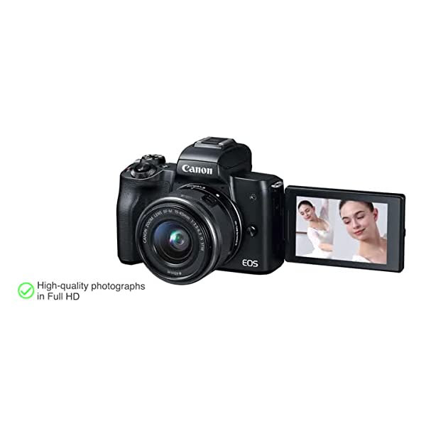 RetinaPix Canon EOS M50 24.1MP Mirrorless Camera (Black) with EF-M 15-45 is STM Lens