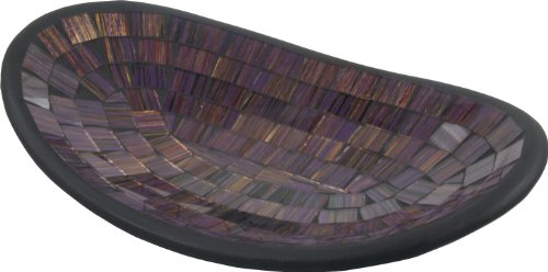 Guru-Shop Ovale Mozaïekkom, Onderzetter, Decoratieve Kom, Handgemaakte Glazen Fruitschaal van Keramiek - Ontwerp 3, Paars, Maat: Klein (12x16 Cm), Kommen