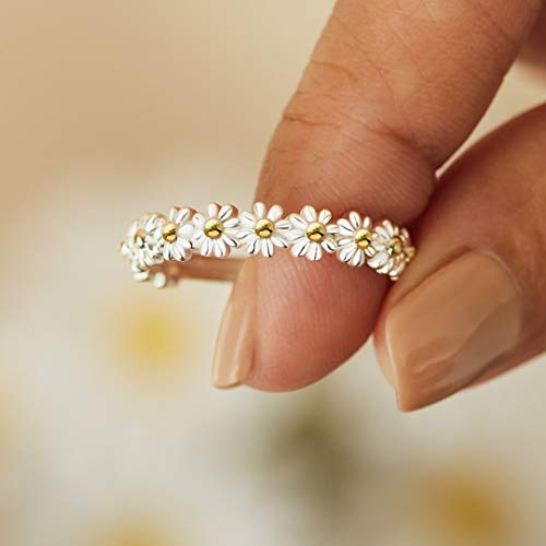 I Think About You Every Daisy Ring Tiny Dainty Simple Flower Ring 925 Sterling Silver Rings Stacking Rings for Women Casual Rings Delicate Everyday Ring Comfort Fit Bands Ring for Girls & Womens (7)