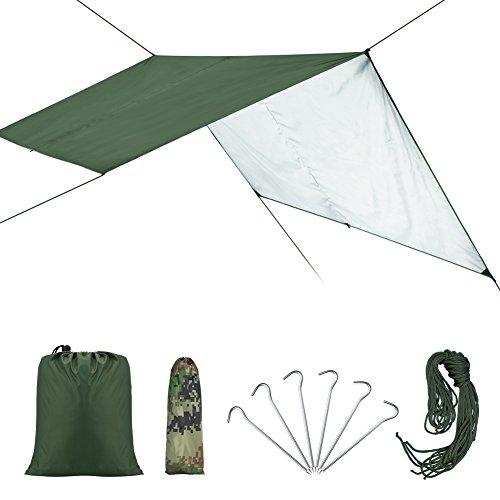 VGEBY Wasserdicht Zeltplane mit Öse für Camping und Outdoor mit Tragetasche (Farbe : Grün)