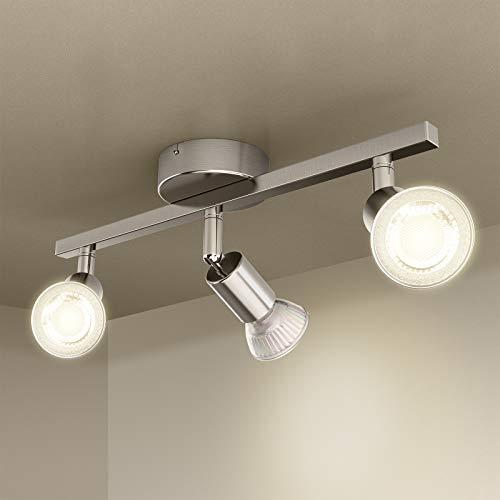 LED Deckenstrahler 3 Flammig, Öuesen LED Deckenleuchte Schwenkbar Inkl. 3 x 3W GU10 Deckenspot LED Strahler Deckenlampe Spot Warmweiß 3000K Rund Lampe für Küche, Wohnzimmer, Schlafzimmer, Kinderzimmer
