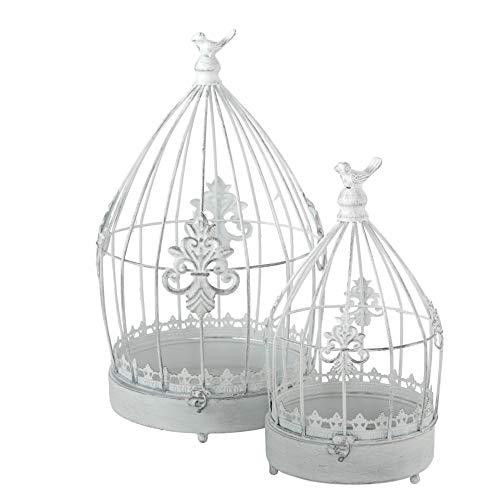 CasaJame Casa Arredamento Decorazione Accessori Design Set di 2 Gabbie per Uccelli Decorative Stile Shabby Chic Vintage Ferro Bianco A32-44cm