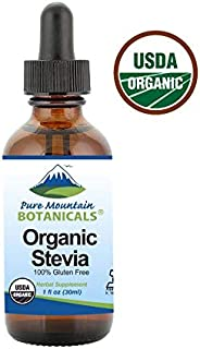 Organic Liquid Stevia Sweetener – Alcohol Free and Kosher Sugar Substitute - 1oz Glass Bottle