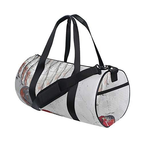 ZOMOY Sporttasche,Bowling Artsy Grunge Objekte drucken,Neue Bedruckte Eimer Sporttasche Fitness Taschen Reisetasche Gepäck Leinwand Handtasche