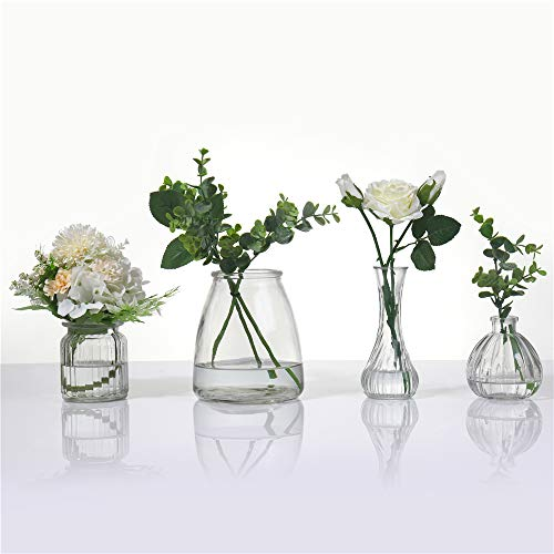 Anlin Set of 4 Rustic Small Glass Vase in Various Shapes Mini Vase Wedding Bridal Shower Centerpiece Table Vase
