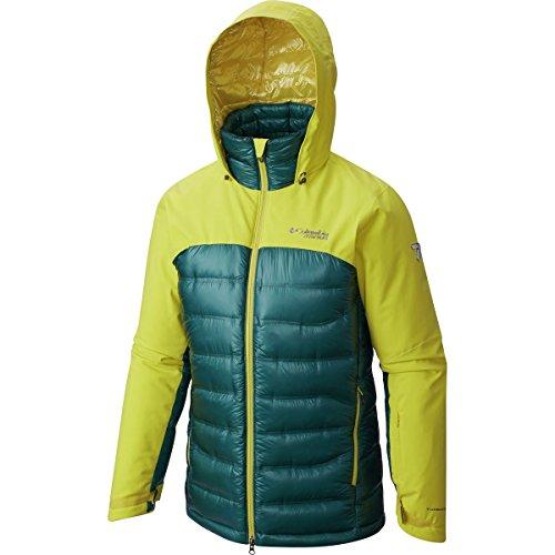 Columbia Men's Heatzone 1000 TurboDown Hooded Jacket Large Yellow/Deep Water