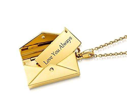 Colgante con forma de carta de amor con diamante, personalizable