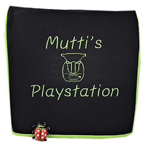 Abdeckhaube für Thermomix, TM 6, TM 5, Mutti's Playstation m. Thermomix* Personalisiert, Schwarz mit apfelgrün, Baumwolle, Stickerei