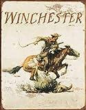 Cartel vintage de lata de metal Winchester Firearms Western Riding Cowboy 20 x 30 cm, arte retro para el hogar, bar, restaurante, cafetería, jardín, garaje, decoración de pared clásica