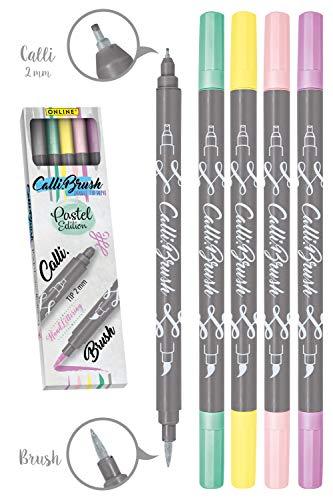Online Calli.Brush Pastel, 5er Set Handlettering Brush-Pen, Pinsel-Stifte Set, Kalligraphie-Set, Pens mit Calligraphie-Spitze und Pinsel-Spitze für Bullet Journaling, Wasserfarben