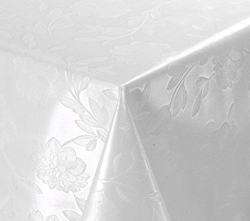 WACHSTUCH TISCHDECKE abwischbar Meterware, Größe wählbar, 220x140 cm, Relief, Blume Weiß