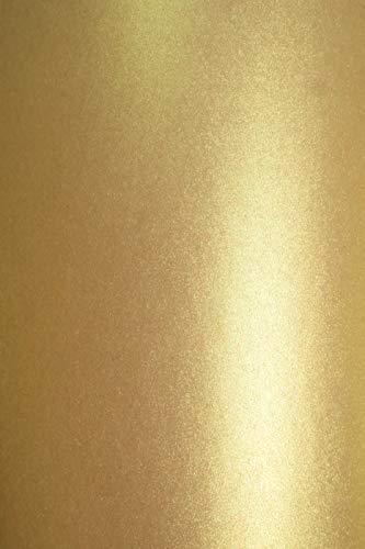20 x Perlmutt-Rustikal-Gold 300g Karton DIN A4 210x297 mm Aster Metallic Rustic Gold, glänzend Pearlkarton Perlglanz-Bastel-Karton Perlmutt-Glanz für Hochzeitskarten, Einladungskarten, Visitenkarten