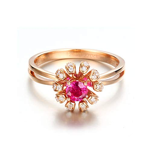 Daesar Anillo Compromiso Mujer,Anillo de Oro Rosa 18K Mujer Flor con Rubí Rosa Roja 0.27ct Diamante Blanco 0.154ct Talla 23,5
